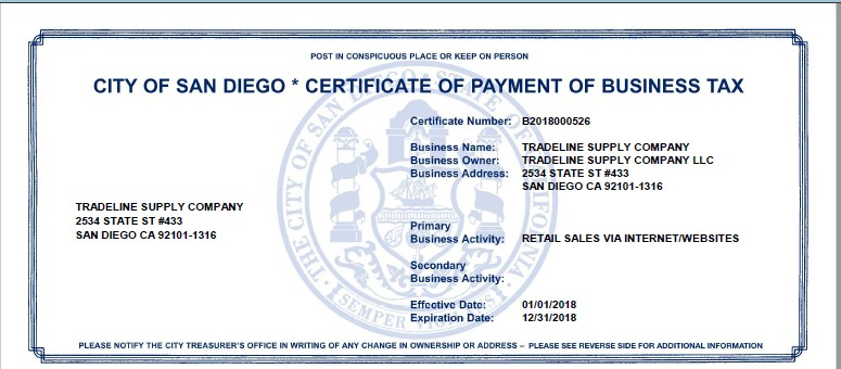Business Tax Certificate – Tradeline Supply Company, LLC