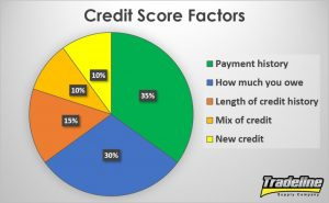 Pie chart of the five factors that affect your credit score by Tradeline Supply Company, LLC