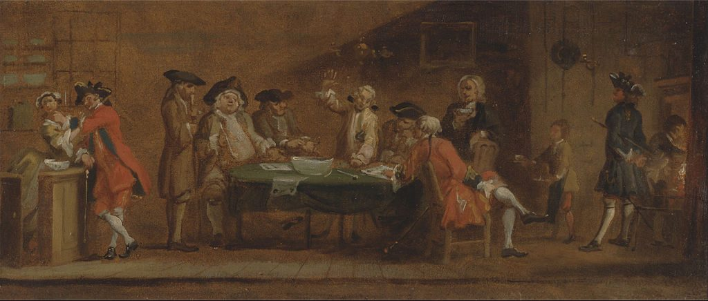 "The earliest credit reporting ""agencies"" were groups of merchants who would get together to gossip about customers. Painting by Joseph Highmore."
