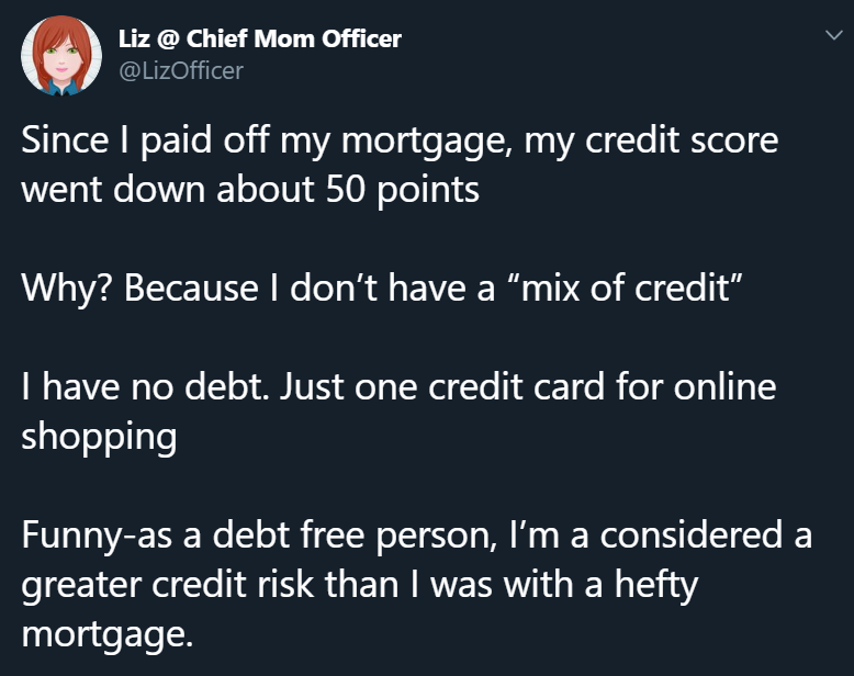 This Twitter user commented that paying off her loan made her credit score go down since it affected her mix of credit.